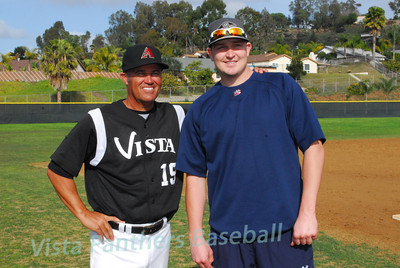 Coach Rick Lepire and Trevor Cahill.